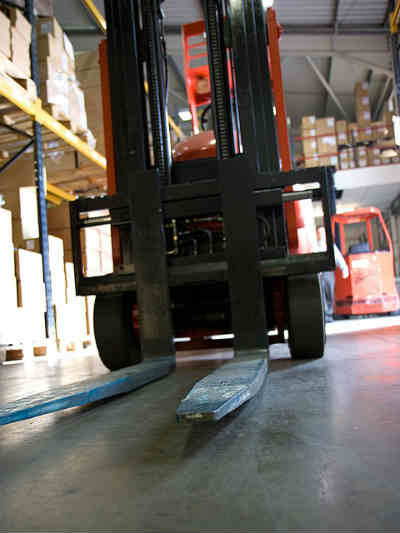forklift operation in the warehouse